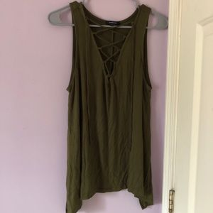 Army Green Wide Sleeve Tank Top